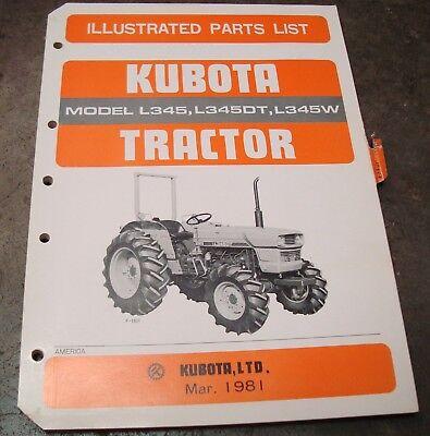 Kubota Tractor Parts Manual Models L345 - 345dt - 345w Part 07909-55252 Oem