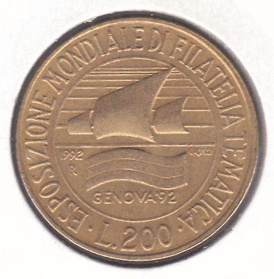 Italy 200 Lire 1992 Aluminium-Bronze Coin - Genoa Philatelic Exhibition