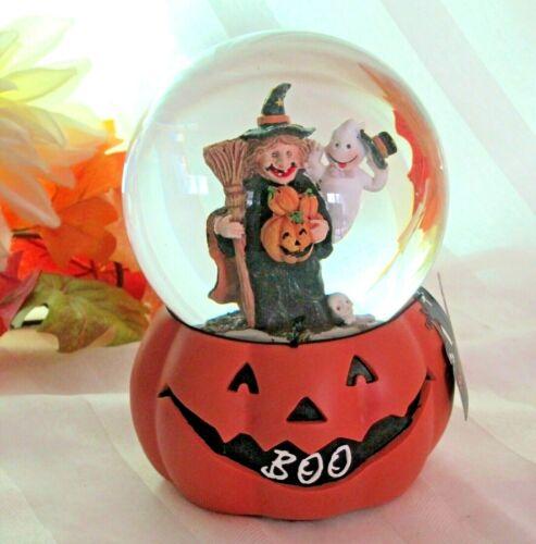 Halloween Music Box Water Globe Witch Broom Ghost Sitting on BOO Pumpkin -FLAW