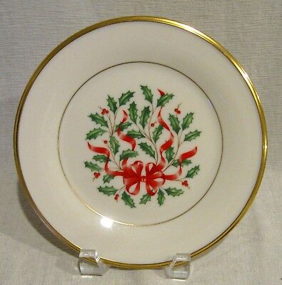 Lenox Holiday Ribbon (Lenox Holiday Red Ribbon Gold Salad Plate 1st Quality)