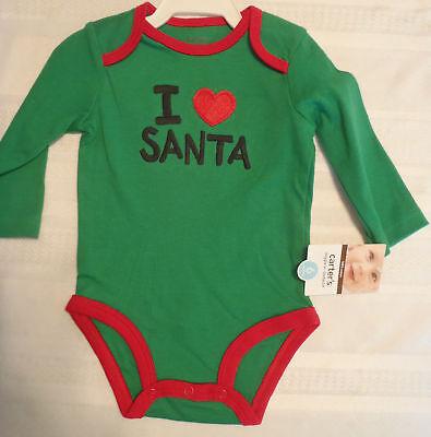CARTERS Baby Boys 6 Month Green I (heart) Santa Long Sleeve Bodysuit NWT