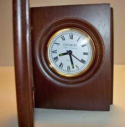 SALE NIB DANBURY Desk Clock, Quartz Wood Base Book Desk Clock, Can Be Engraved