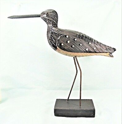 Shore Bird Hand carved and painted wood on stand Beach decor (F)
