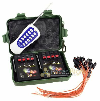 8 Cue Wireless Firework Firing Ignition System w/ Remote & 16 FREE Igniters USA