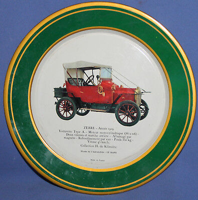 VINTAGE FRENCH SHELL RETRO CAR LITHO TOLE TIN PLATE