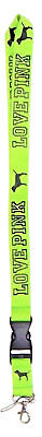 Victorias Secret Pink GRAPHIC Lime Green Lanyard LIMITED ID Key Chain NWT