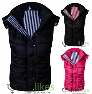 Womens-Sleeveless-Gilet-Ladies-Hood-Quilted-Bodywarmer-Vest-Crop-Top-8-14