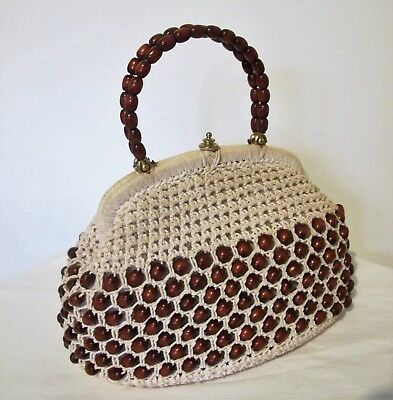 1950s Handbags, Purses, and Evening Bag Styles BAG Genuine 1950s 60s VINTAGE Beige Crochet Brown Wooden Beads Top handle Purse  $50.31 AT vintagedancer.com
