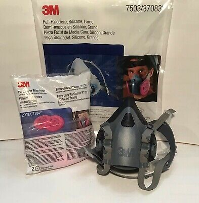 3M 7503 Respirator Medium Size w/ 2 Pieces of 2097 Filters. US Seller