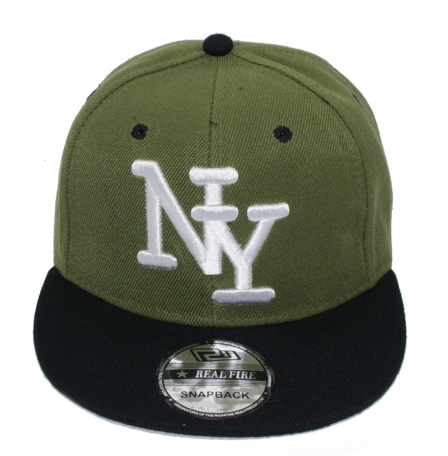 Cappy Cap gerader Schirm Basecap Snapback Kappe Schirmmütze NY Oliv grün Herren