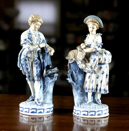 A Pair of Antique Porcelain Figurine, Victorian Couple, 1817s, 8.5 inches Status