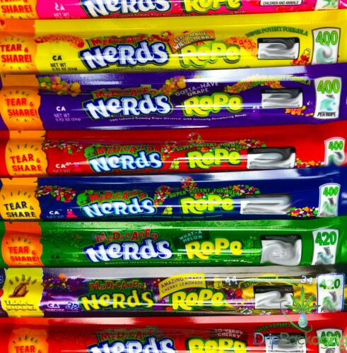 MEDICATED NERDS ROPE *EMPTY BAGS* *VARIOUS FLAVORS* SHIPS IN 24 HOURS! FREE