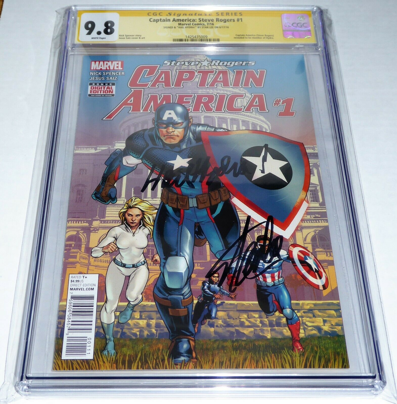 Captain America: Steve Rogers #1 CGC SS Signature Autograph ReMarked STAN LEE