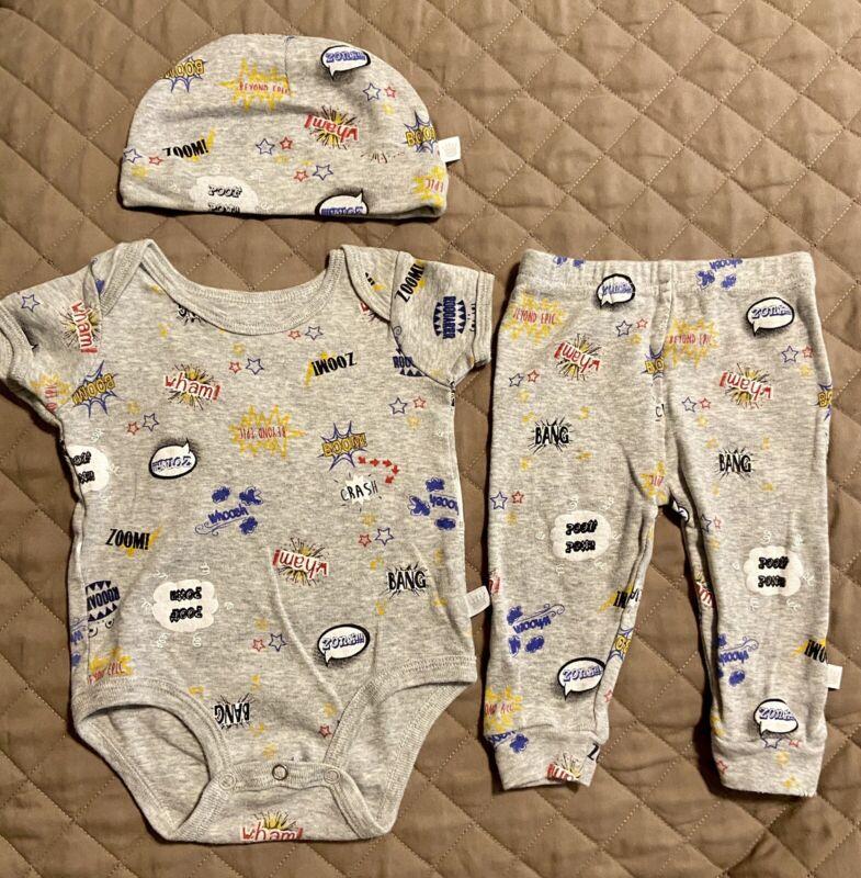 Rosie Pope Baby Boy 3-6 Months/Set of 3/1 piece w/Matching Pants+Hat Super Hero