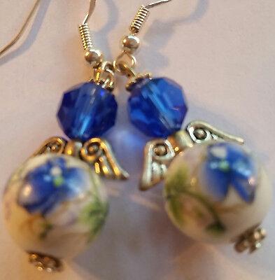 Blue 12mm Lampwork & Crystal Angel Earrings -Sterling Hooks -Combined Shipping