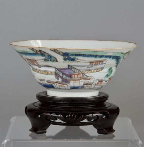 Antique Chinese Famille Rose Porcelain Bowl Xianfeng mark 19th c ,stand and box