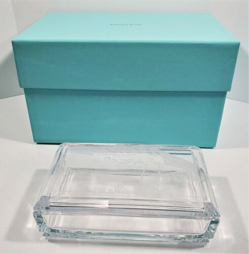 Tiffany & Co Glass Box Etched Top Race Car Palm Trees Ocean Made for Teradata