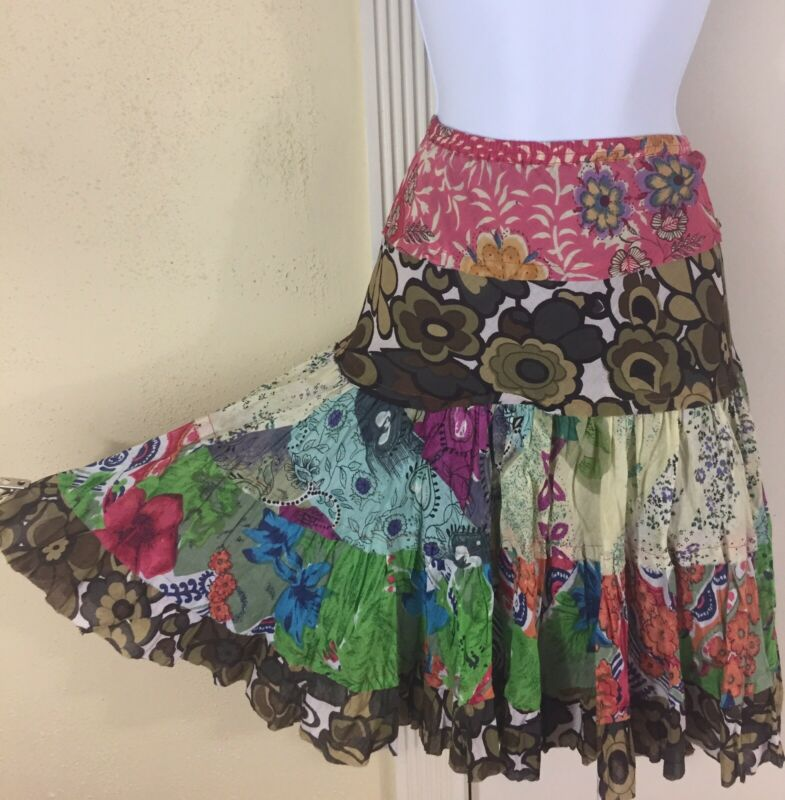 Vintage Hippie Boho Gypsy Festival Size Large Multicolor Tiered Short Skirt