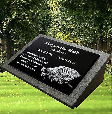 Grabstein Grabplatte Motiv inkl.Inschrift ca.60x40 mit der Stütze aus Granit
