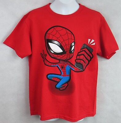 - Spider-Man Boys T-Shirt Officially Licensed New Marvel Selfie Red