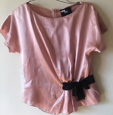 SALE!D&G(Dolce Gabbana)nude/blush Pink 100% Silk Dress Top,Black Velvet Bow M/46