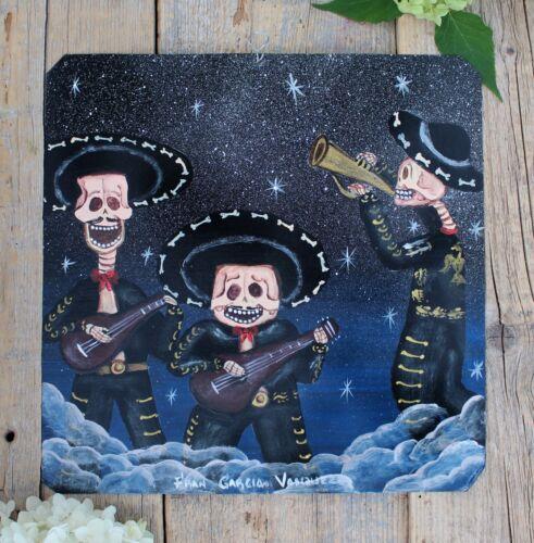 Day of the Dead Tin Retablo Mariachi Band Hand Painted Oaxaca Mexican Folk Art