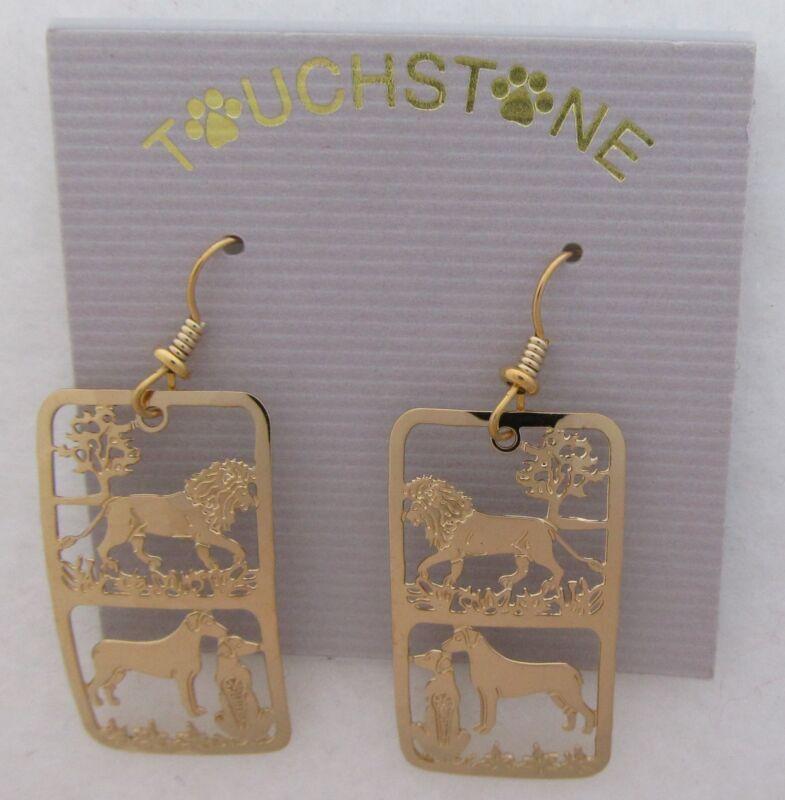 Rhodesian Ridgeback Jewelry Gold Earrings with 2 Dogs