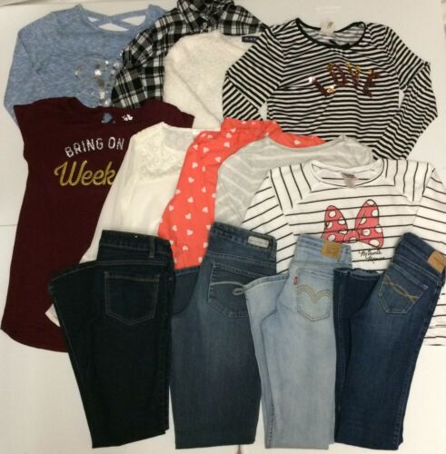 LOT of Girls Clothes-Jeans & Long Sleeve Tops-Justice & More  (Size 14 14 Slim )