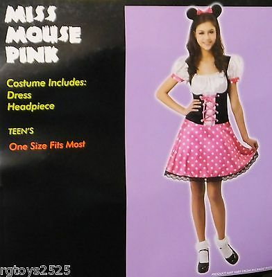 Miss Mouse Pink Costume Size Girls Teen Teen's New Halloween Minnie - Teen Mouse Costume