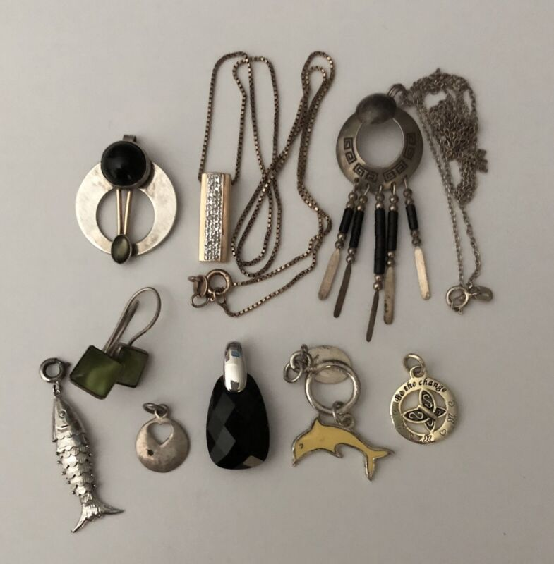 Unique Vintage Sterling Silver Mixed Jewelry Lot 9 Pieces