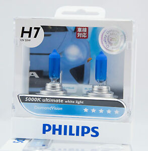 2 x philips diamond vision 5000k h7 ultimate white light us location ebay. Black Bedroom Furniture Sets. Home Design Ideas