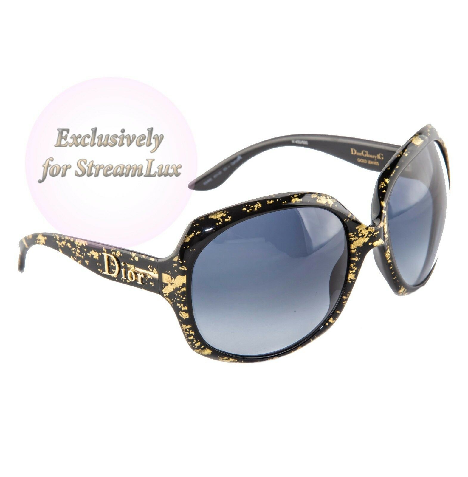 769a66133f1a ... CHRISTIAN DIOR GLOSSY 1G 93HHD Oversized Round Black Gold Women  Sunglasses фото ...