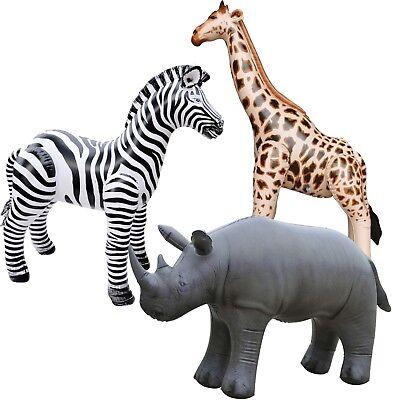 3 Inflatable Zebra Giraffe Rhino Stuffed Animals Jungle Wild Safari Toys Gifts - Stuffed Giraffes