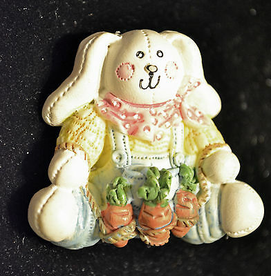 UNBRANDED - RESIN BUNNY FARMER OVERALLS AND CARROTS BROOCH PIN - 1 1/2