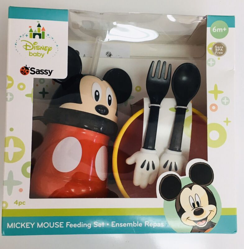 Disney Babies Mickey Mouse 4 Piece Dinnerware Set-NEW. Straw Cup, Bowl, Etc.