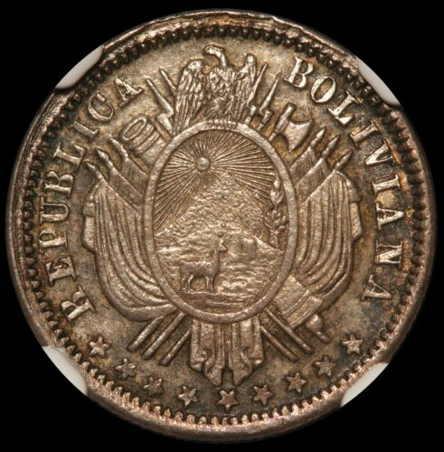 1872 PTS FE Bolivia 10 Centavos Oval Shield Silver Coin - NGC MS 64 - KM# 158.1