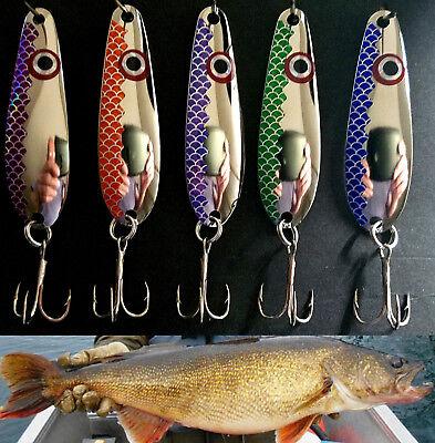 """2 3//8/""""   trolling spoons 5 5 color Fisheye Scale//Open Scale Walleye Candy"""