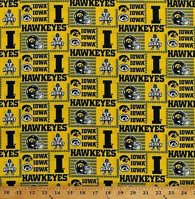 Cotton University of Iowa Hawkeyes College Football Fabric Print by Yard D663.56 College Football Fabric