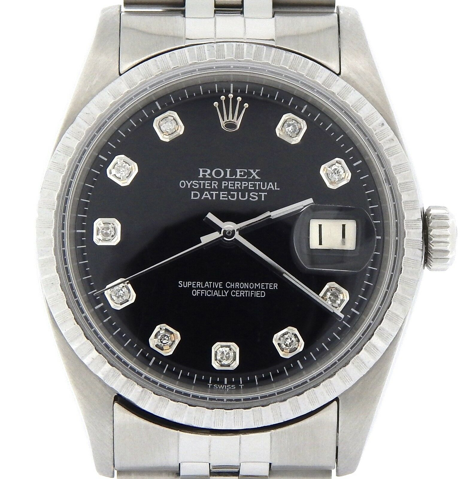 $3099.98 - Rolex Datejust Mens SS Stainless Steel Jubilee Black Diamond Dial Watch 1603