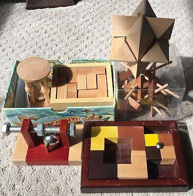 (5) Wood Puzzle Brain Teaser Lot