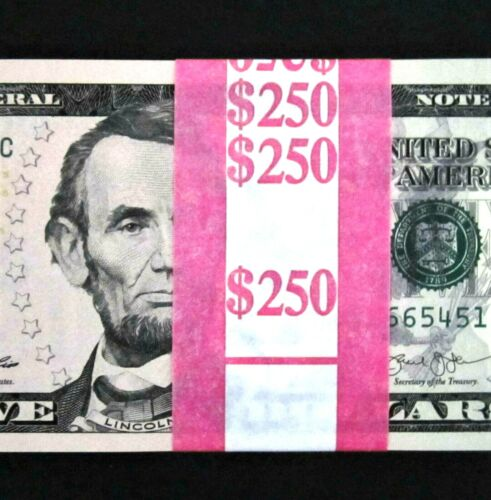 50 Five Dollar Bills NEW $5 Bundle US Currency 1/2 BEP Pack Sequential Notes