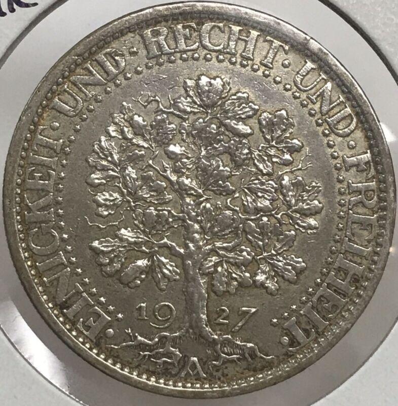 1927-A Germany Weimar Republic 5 Reichsmark .500 Silver Coin