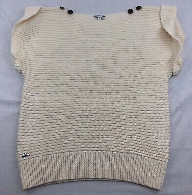 Lacoste Button Shoulder Sweater Sleeveless Wool Blend White Womens 38 M