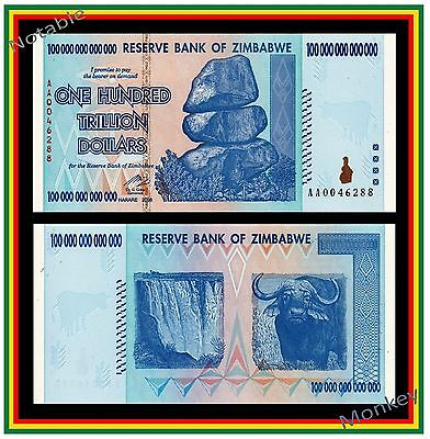 $100 Trillion Zimbabwe 2008 AA - Free Shipping to U.S. and Canada!