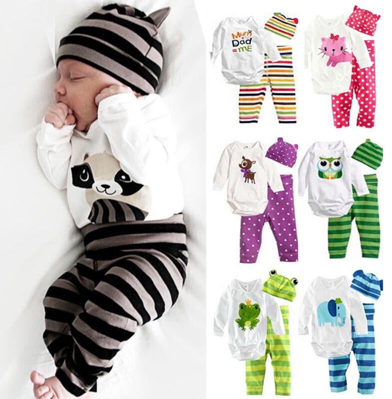 Newborn Baby Clothes Boy Girl Long Sleeve Romper Tops + Pant