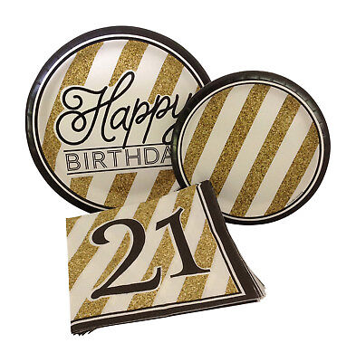 Black Gold Happy 21st Birthday Party Bundle- Paper Plates and Napkins for 8 - Black And Gold Napkins