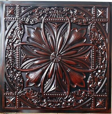 Suspended Ceiling tiles Faux tin aged red wood decor wall panel PL10 10pcs/lot