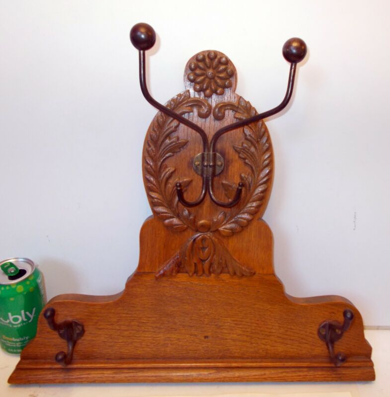Antique Carved OAK  Hanging Wall RACK HATS Coats Towels Iron Hooks