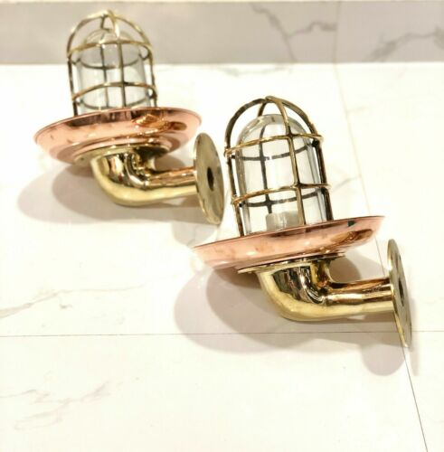 NAUTICAL STYLE WALL SCONCE BULKHEAD LIGHT BRASS WITH COPPER SHADE 2 PCS
