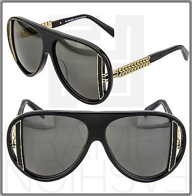 BALMAIN IMAN Black Gold Aviator Runway Limited Sunglasses BL 2061 Women Fashion